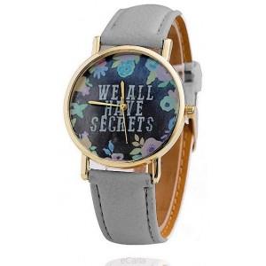 Dámske náramkové hodinky so sivým remienkom a kvetinovým ciferníkom