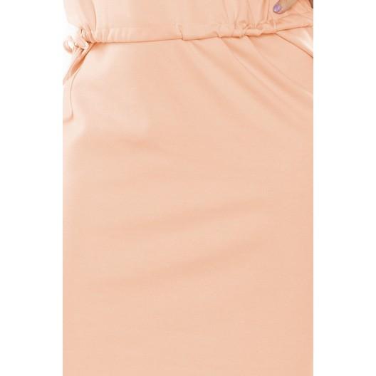 Elegantné spoločenské šaty broskyňovej farby s golierom