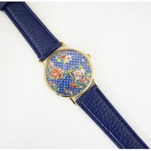 Tmavo modré náramkové hodinky s kvetinovým ciferníkom