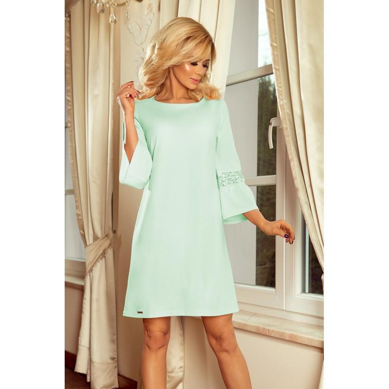 fc79ff071 Elegantné mätové šaty so širokým rukávom a čipkou