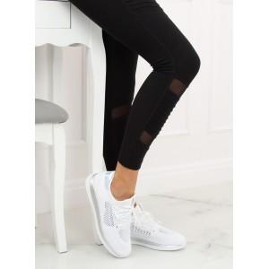 Biele dámske botasky so šnurovaním na beh s metalickými aplikáciami