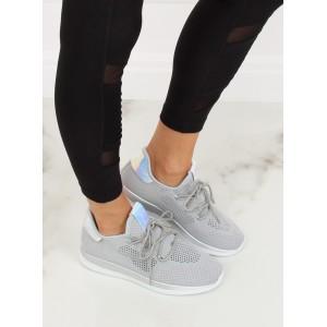 Športové dámske sivé tenisky s originálnym dizajnom