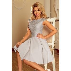 Dámske spoločenské šaty sivej farby s čipkou