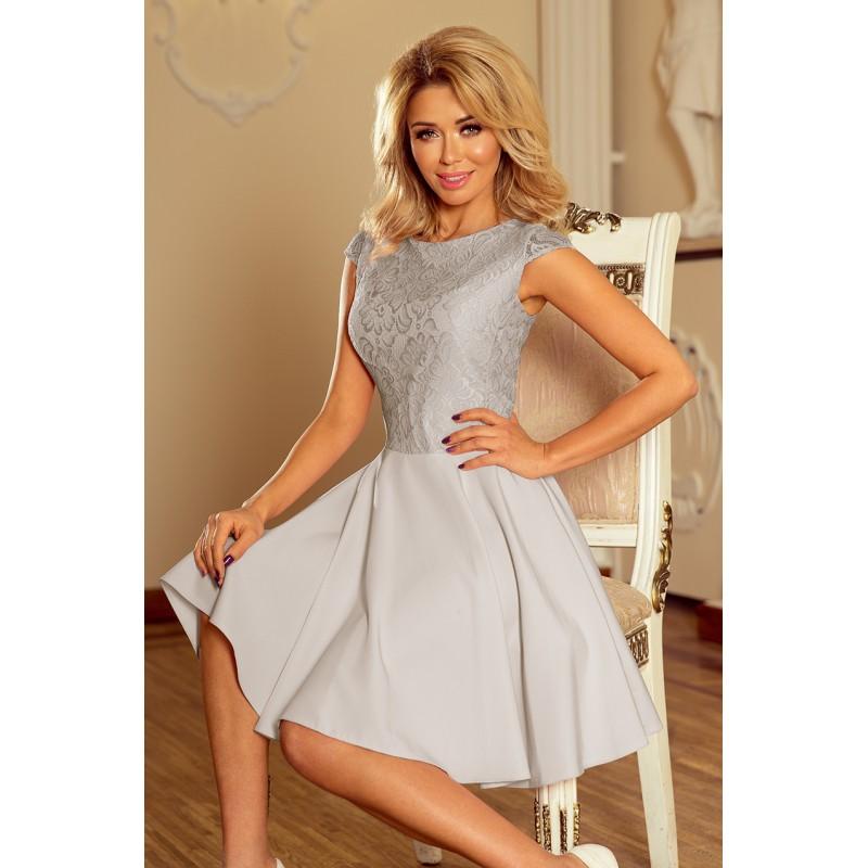 5100a3a217fa Dámske spoločenské šaty sivej farby s čipkou
