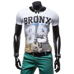 Pánske tričko s krátkym rukávom bielej farby