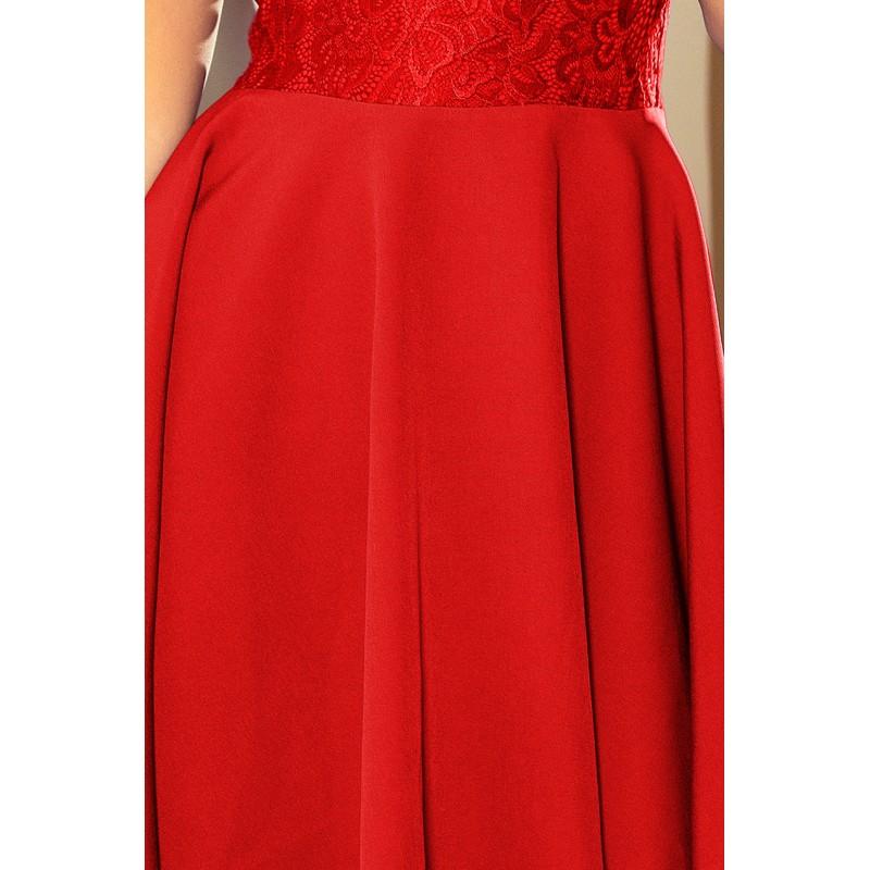 9b4fe181600c Červené spoločenské šaty s čipkou bez výstrihu