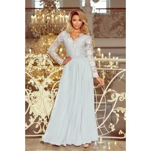 Dlhé slávnostné šaty sivej farby s čipkou