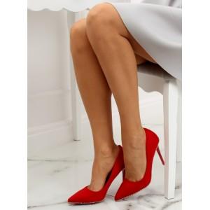 Luxusné semišové lodičky červenej farby s dizajnovou retiazkou v leme