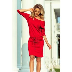 Elegantné šaty červenej farby s vreckami a viazaním v páse