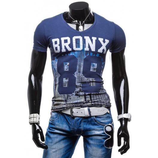 Tričká pre chlapov s krátkym rukávom modrej farby s potlačou 100% bavlna