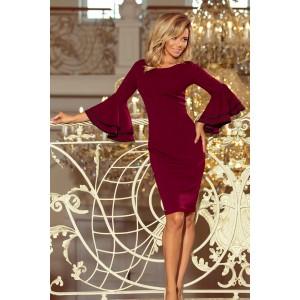 Exkluzívne bordové šaty so španielskymi rukávmi