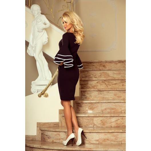 Luxusné plesové šaty so španielskymi rukávmi čiernej farby
