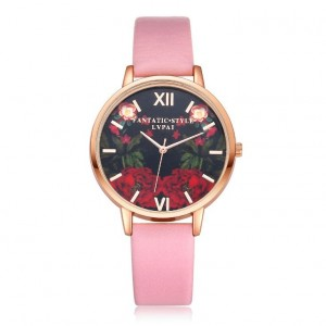 Ružové dámske náramkové hodinky s ružičkami