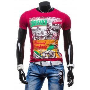 Štýlové pánske tričká ružovej farby s potlačou
