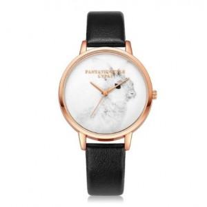 Dámske náramkové hodinky s čiernym remienkom a motívom zajačika