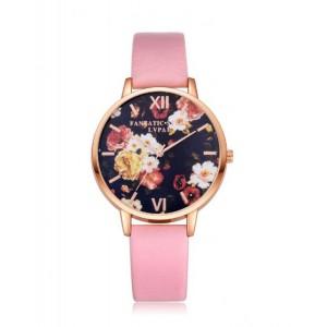 Kvetinové dámske náramkové hodinky ružovej farby