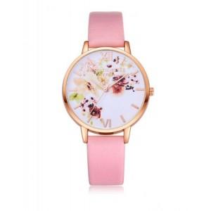 Dievčenské náramkové hodinky ružovej farby s romantickým vzorom kvetov