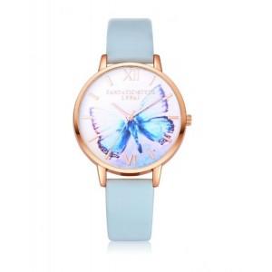 Svetlomodré náramkové hodinky s motýlikom a zlatým rámom na ciferníku