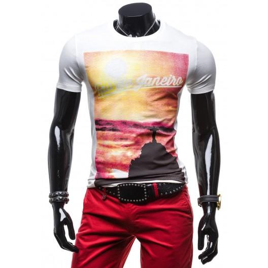 Značkové pánske tričká bielej farby s potlačou Rio de Janero