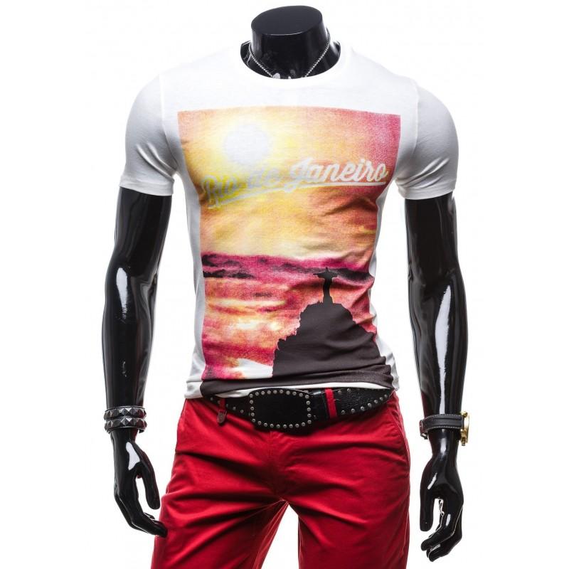 cc5105ef7c51 Značkové pánske tričká bielej farby s potlačou Rio de Janero ...