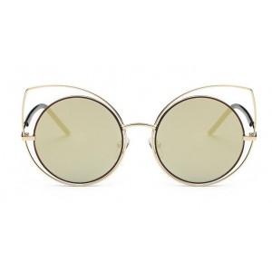 Zlaté slnečné okuliare s dizajnovým rámom