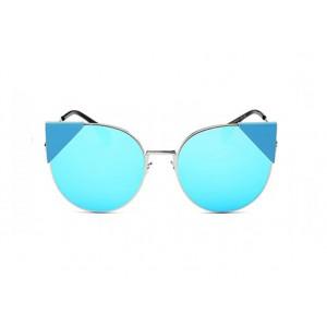 Modré dámske slnečné okuliare v mačacom štýle