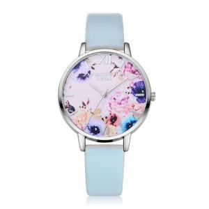 Svetlomodré hodinky dámske na ruku s ružovým kvetinovým ciferníkom