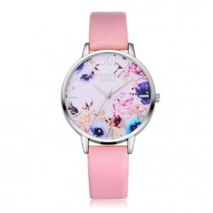 Strieborno ružové dámske hodinky s kvietkami
