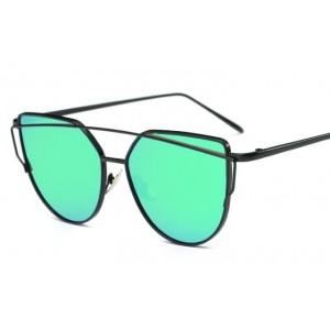 Zelené zrkadlové slnečné okuliare s tenkým rámom čiernej farby
