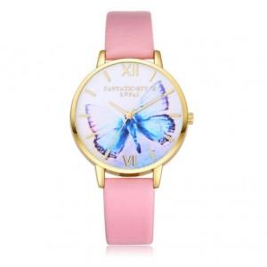 Zlato ružové dámske hodinky s motívom motýlika