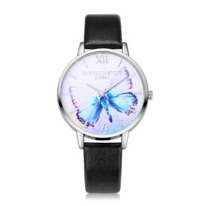 Strieborno čierne dámske hodinky s motýľom na ciferníku