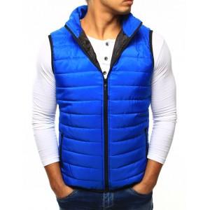 Modrá pánska prešívaná vesta v modrej farbe