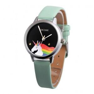 Zelené náramkové hodinky s motívom jednorožca