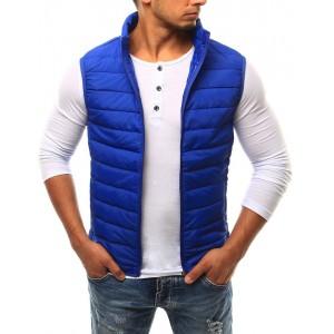 Pánska prešívaná vesta v modrej farbe bez kapucne