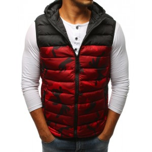 Pánska červená army vesta s kapucňou