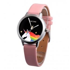 Dievčenské náramkové ružové hodinky  s jednorožcom
