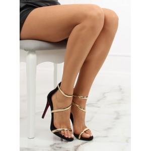 Luxusné dámske čierne sandále na vysokom opätku so zlatým remienkom