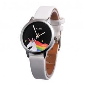 Biele dievčenské hodinky s jednorožcom