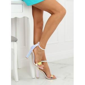 Strieborné metalické dámske sandále na vysokom plnom opätku