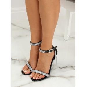 Originálne dámske čierne sandále s kamienkami na priesvitnej platforme