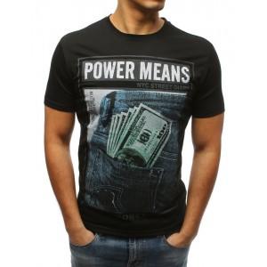 Čierne tričko pre pánov so štýlovou potlačou