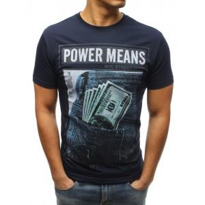 Moderné pánske tričko v modrej farbe s potlačou
