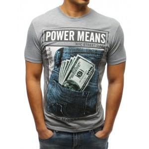 Pánske tričko v sivej farbe s potlačou dolára
