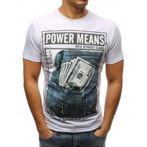Pánske tričko s krátkym rukávom v bielej farbe