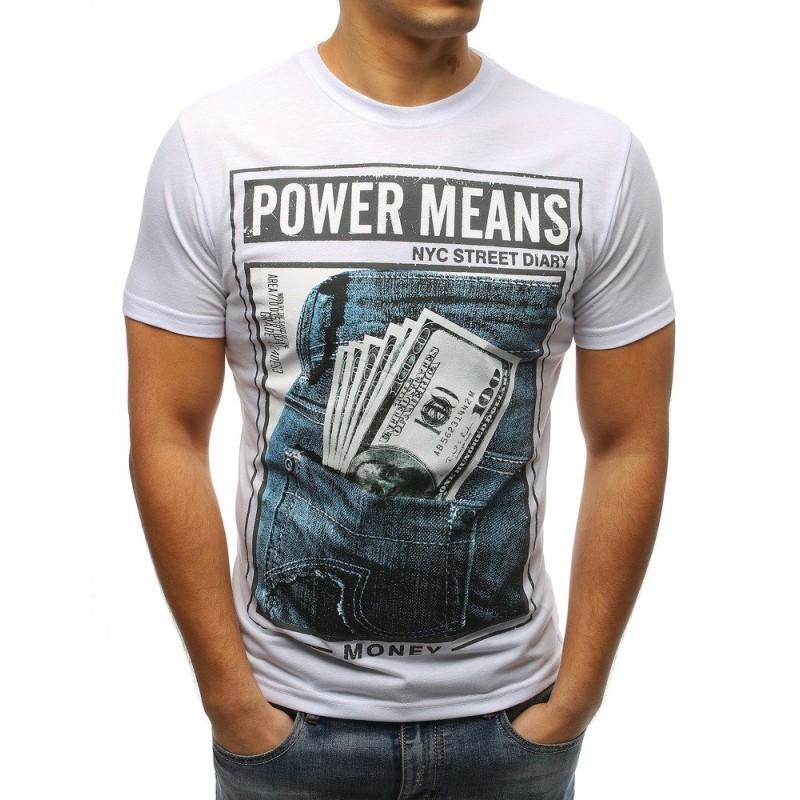 5e71a5f8a Pánske tričko s krátkym rukávom v bielej farbe