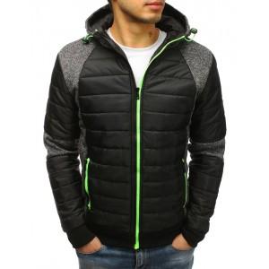 Štýlová pánska prechodná bunda čiernej farby s kapucňou