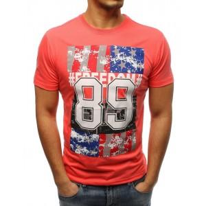 Oranžové pánske tričko s americkou potlačou