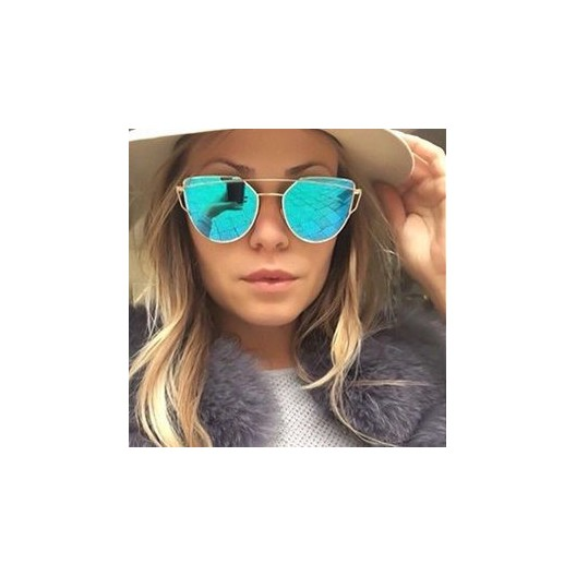 Tyrkysové slnečné okuliare s tenkým zlatým kovovým rámom
