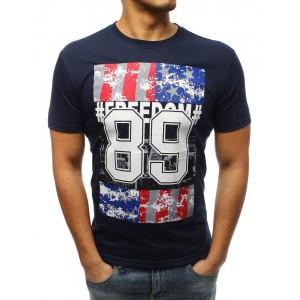 Štýlové pánske tričko s potlačou modrej farbe