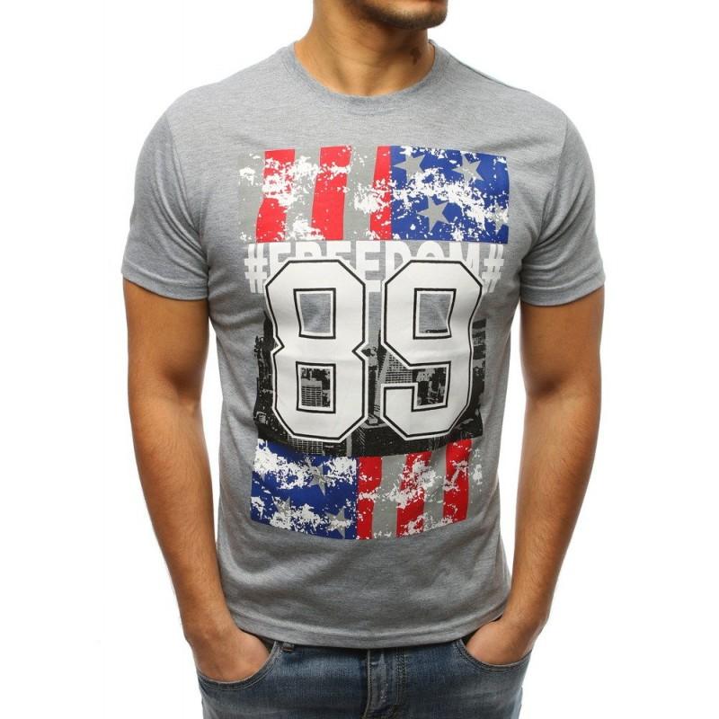dd82767647e9 Sivé pánske tričko s potlačou USA